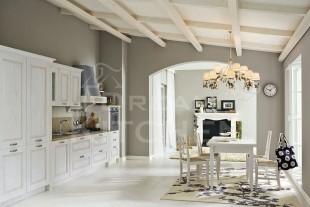 Λευκη κουζινα ντεκαπε με τραπεζαρια