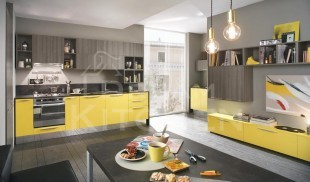 Κουζινα μελαμινης mimosa και Rovere brown