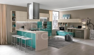 Κουζινα μελαμινης verde oceano και tiglio grigio