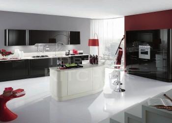 Κουζινα σε μαυρο μεταλλικο και λευκο σε βαφη γυαλιστερης λακας