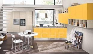 κουζινα κιτρινο με εκρου