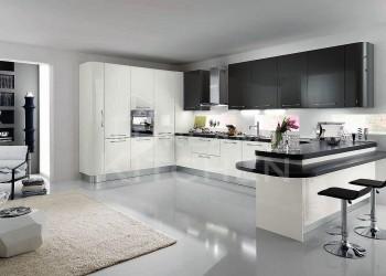 Κουζινα σε λευκο και ανθρακι γυαλιστερη λακα