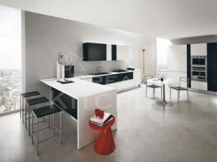 κουζινα μαυρο με λευκο