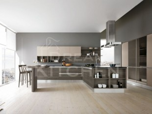 κουζινα με ανθρακι και εκρου
