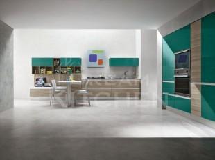κουζινα μπεζ και πρασινο