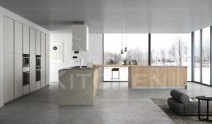 Industrial κουζινα σε ακατεργαστο ξυλο με λευκο