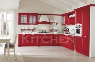 κοκκινο κλασσικο μοντελο κουζινας vintage