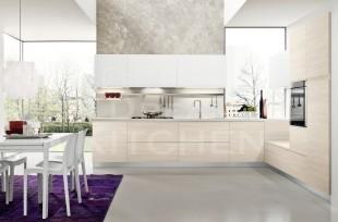 Μπεζ αναγλυφο με λευκο κουζινα με ενσωματωμενη λαβη