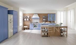 μπλε με δρυς κουζινα νησιωτικη