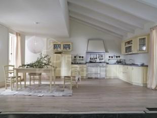 μπεζ κλασσικο χωριατικο μοντελο κουζινας