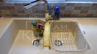 Νεροχυτης Μπαταρια Επιπλα Κουζινας Βακελιτη με Ταμπλα σε καφέ αποχρωση 33