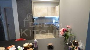 Επίπλα κουζίνας HPL Cemento με παγκο Fenix 2