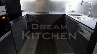 Επίπλα κουζίνας HPL Cemento με παγκο Fenix 6